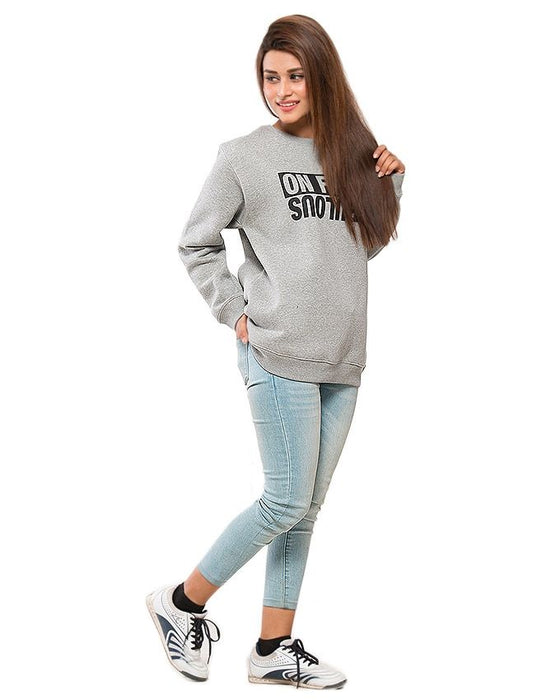 CrossRoads Heather Grey Mix Cotton Sweat Shirt For Women