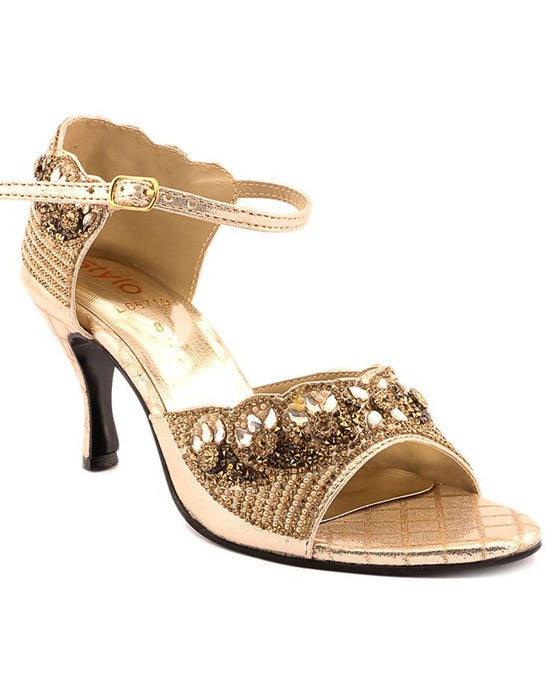 Stylo Shoes Golden Synthetic Leather Heels for Women - L65719 - US Size