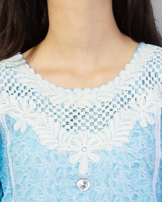Style Inn Sky Blue Lawn Printed With White Lace And Qureshia Neck
