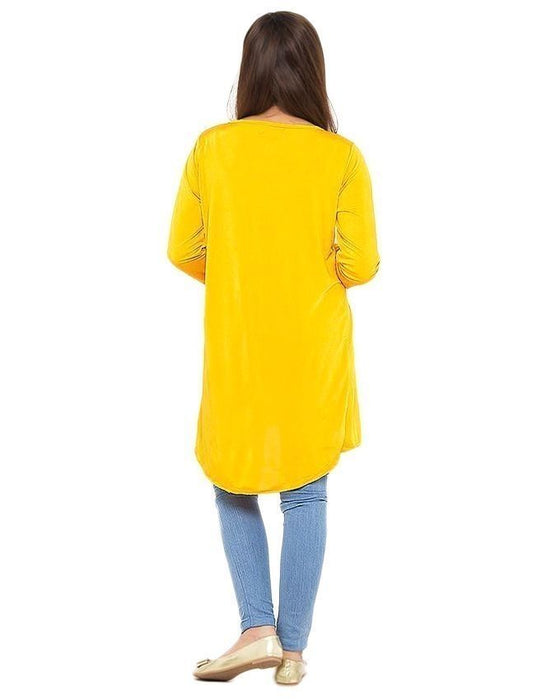 Street Style Yellow Viscose Shrug For Women