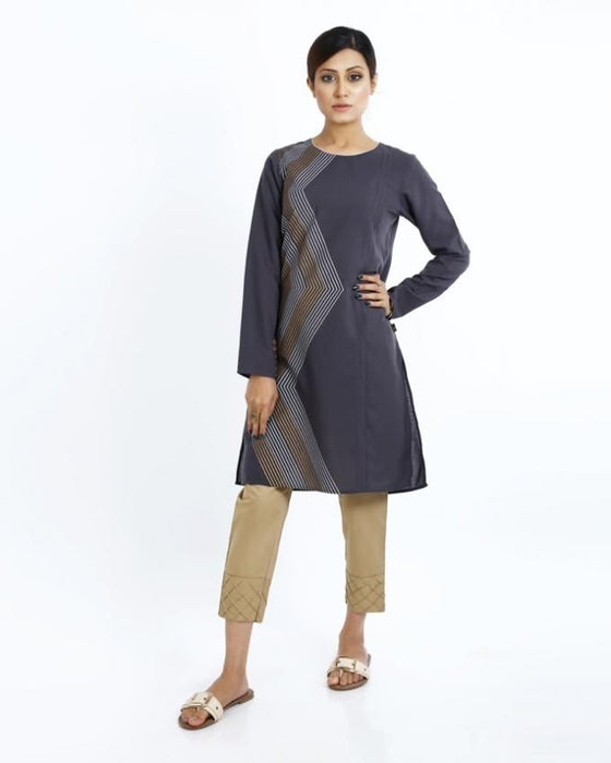 Ego Grey Mix Cotton Kurti for Women - E02702-GR0