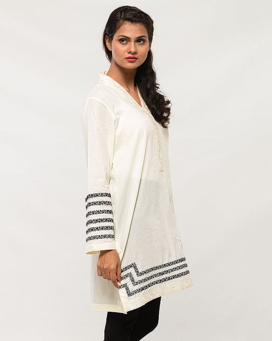 Origins Off-White Lawn Top for Women