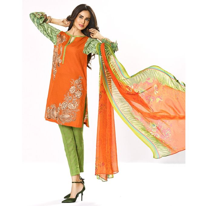 House of Ittehad Orange Unstitched Embroidered Lawn - LF-REL-004A-17