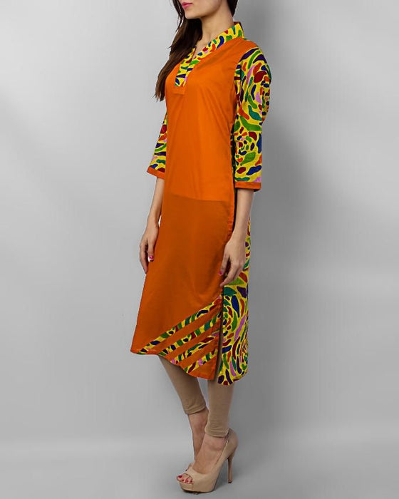 Style Inn Orange Lawn Kurta With Colourful Back And Chinese Neck