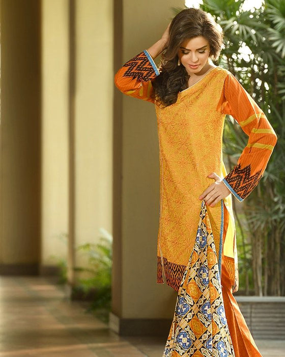 Lala Daffodil - Lawn - Unstitched suit for women - 3Pcs