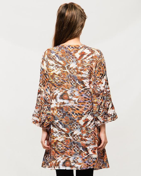 Misbah's Style Orange & Brown Malai Lawn Printed Top For Women
