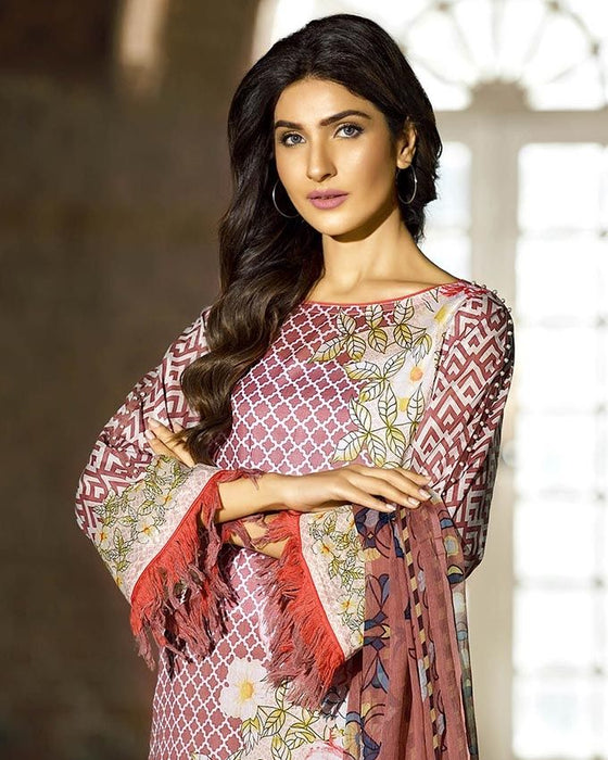 Gul Ahmed Peach Spring/Summer 2017 Collection Embroidered La Chiffon-C # 326