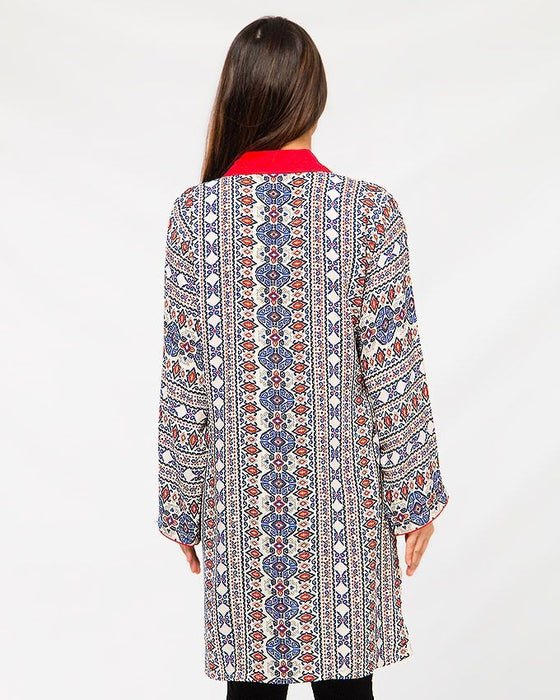 Misbah's Style Skin and Red Malae Lawn Kurta For Women