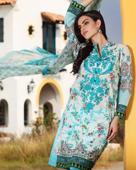 Gul Ahmed Turquoise Spring/Summer 2017 Collection Embroidered La Chiffon-C # 434