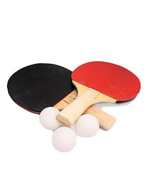 Let's Shop Table Tennis Racket With 3 Balls - Black & Red