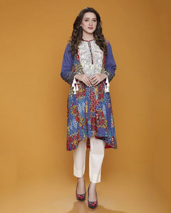 Origins Multicolour Lawn Round Neck Printed Long Shirt With Embroidered Neck & Sleeve Tassels