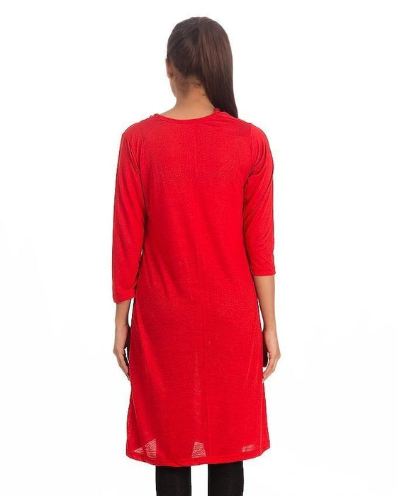 QK Styles Stylish Side Button Top For Her - Red