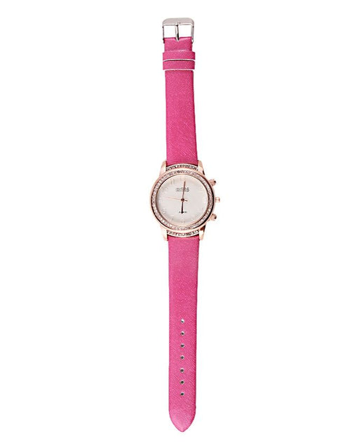 Style and Comfort Shocking Pink Leather Watch for Women - LW-2139