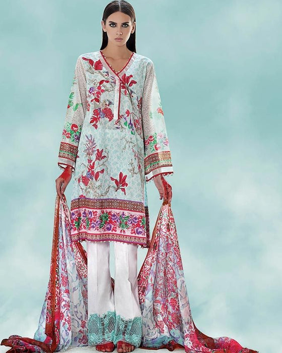 Gul Ahmed Sea Green Spring/Summer 2017 Collection Embroidered La Chiffon-C # 446