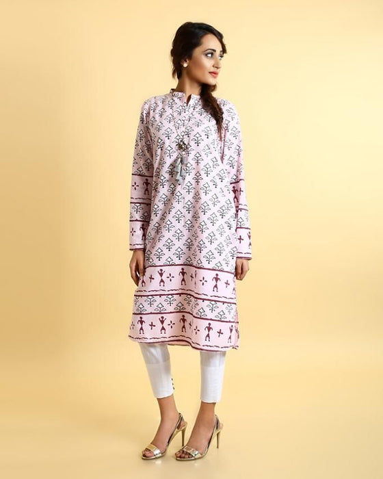 Ego Pink Mix Cotton Dancing Trees Kurti