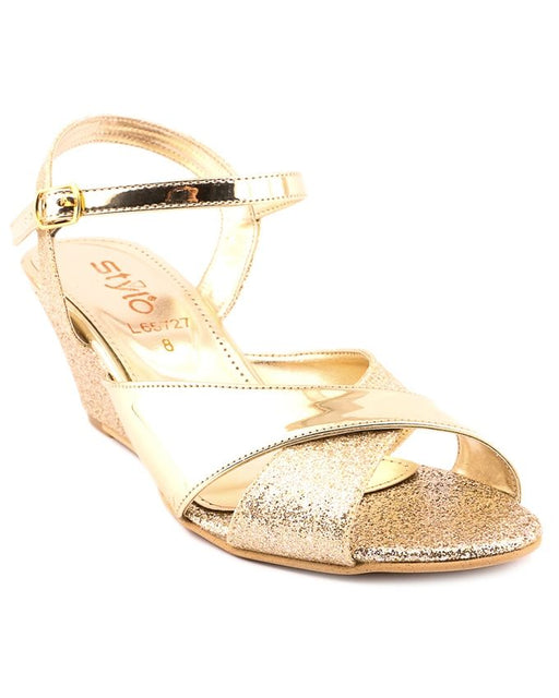 Stylo Shoes Golden Synthetic Leather Wedges for Women - L65727 - US Size