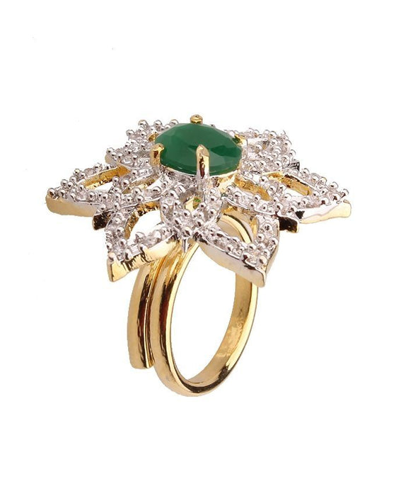 Style and Comfort Gold Plated on Alloy Zircon Ring For Women - R-28