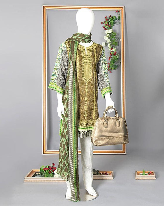 Rangoli Olive Green Lawn Airjet Rangoli Royal 3pc Unstitched Suit for Women