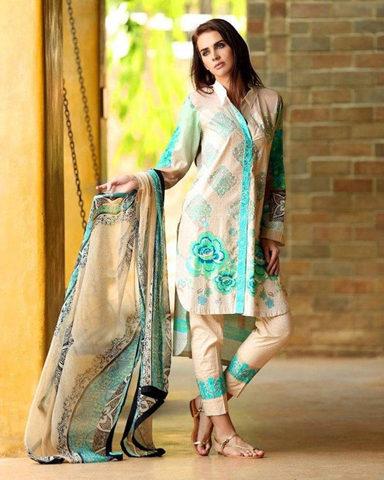 Lala Ghost White Lawn Vintage Exclusive 3-Piece Unstitched Suit For Women