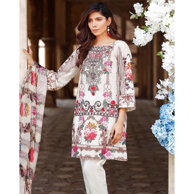 Din Lifestyle Unstitched Multicolour Digital Printed Embroidered Lawn Shirt With Dyed Trouser for Women