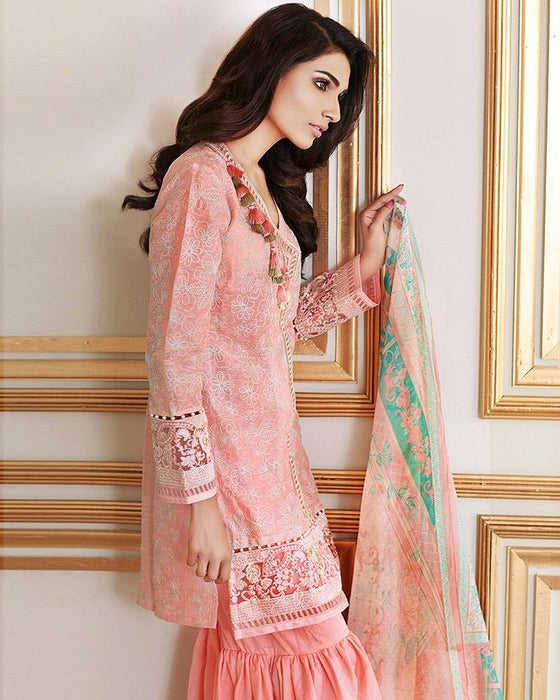 Gul Ahmed Pink Festive Collection 2017 Eid Festive 3 Pc Premium Embroidered Chiffon-FE # 40 Unstitched