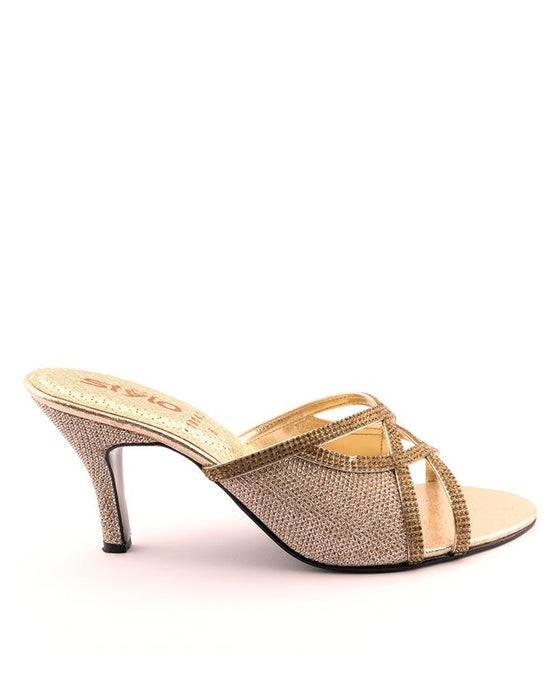 Stylo Shoes L19043- Golden Color Synethetic Leather Heel - US Size