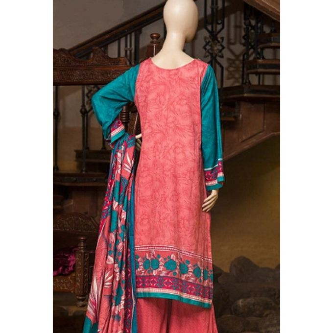 Fashion Wala Pink Lawn Unstitched Suit for Women - 3Pcs