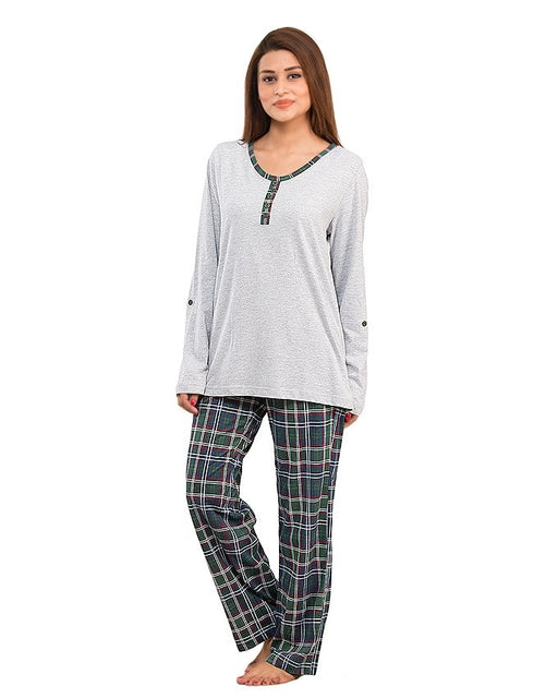 Style and Comfort Green Border Grey Shirt With Checkered Trouser - Ld-6186