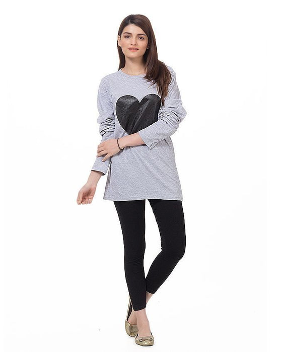 Street Style Heather Grey Cotton Heart Printed T-Shirt for Women - POS-185