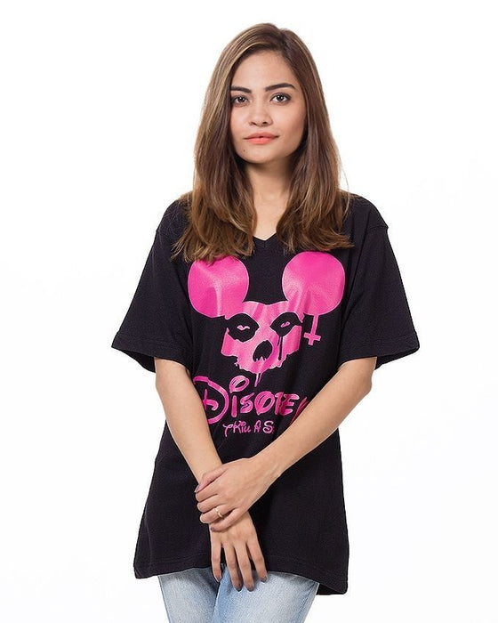 Street Style Black Cotton Printed T-Shirt For Women