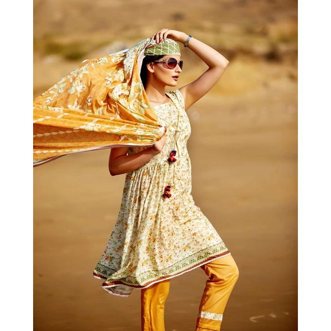 Bashir Ahmed Orange Lawn 3pc Unstitched Suit for Women