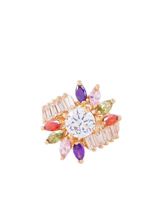 Style and Comfort Golden Metal Zircon Ring with Multicolor Stones for Women - R-17