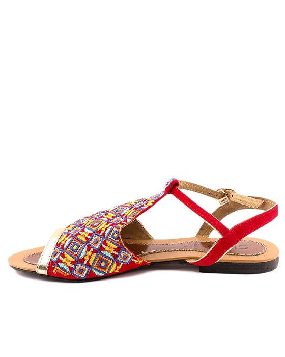 Stylo Shoes Red Synthetic Leather Strappy Sandal For Women - L65480 - US Size