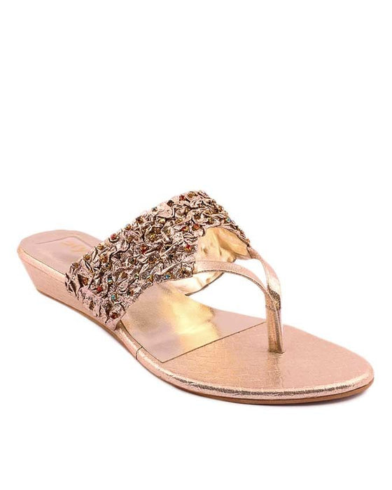 Stylo Shoes Golden Synthetic Leather Sandal For Women - L87473 - US Size