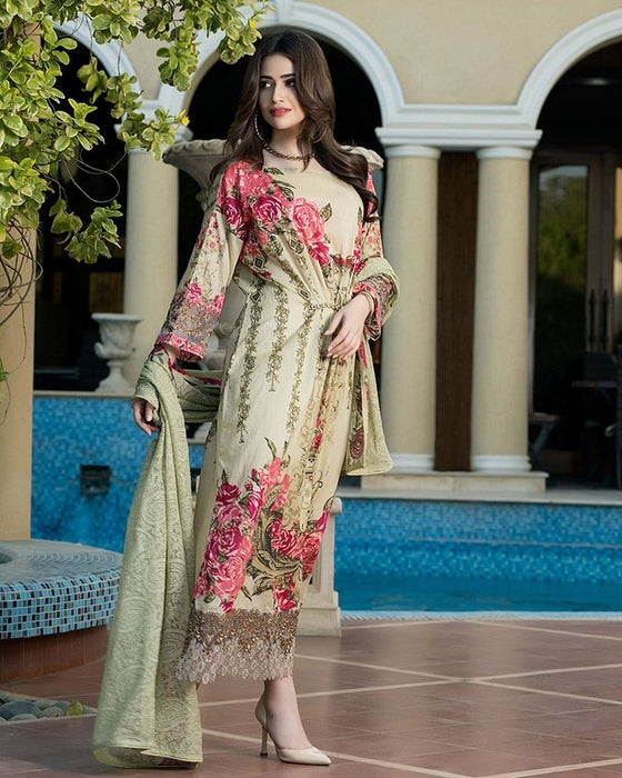 Gul Ahmed Olive Green Festive Collection 2017 Eid Festive 3 Pc Premium Embroidered Chiffon-FE # 71 Unstitched