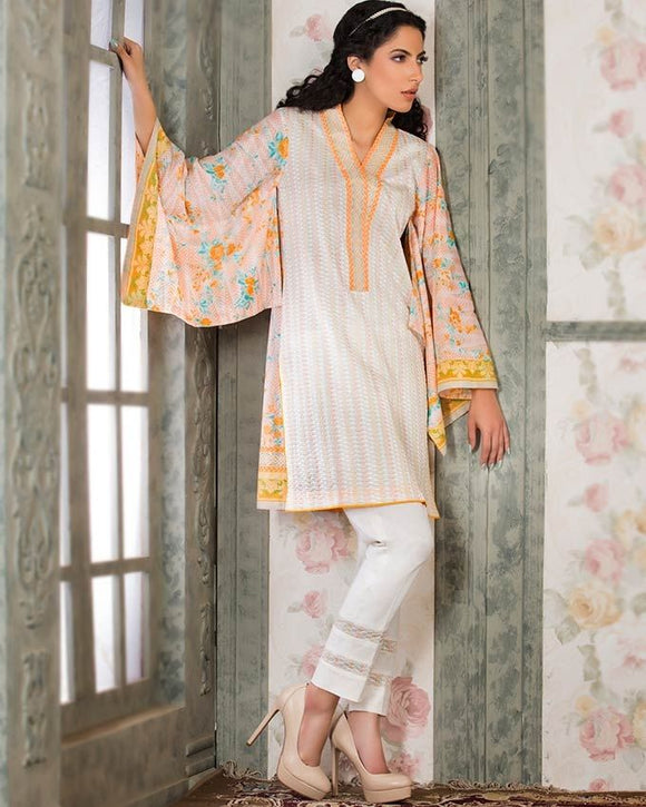 Gul Ahmed Peach Spring/Summer 2017 Collection  Single Embroidered-SL # 341