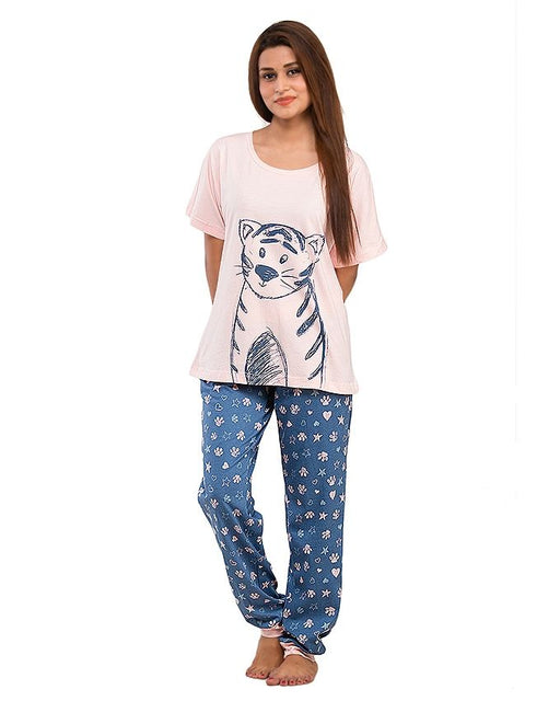 Style and Comfort Blue & Light Pink Cotton Nightwear for Women - LD-6189