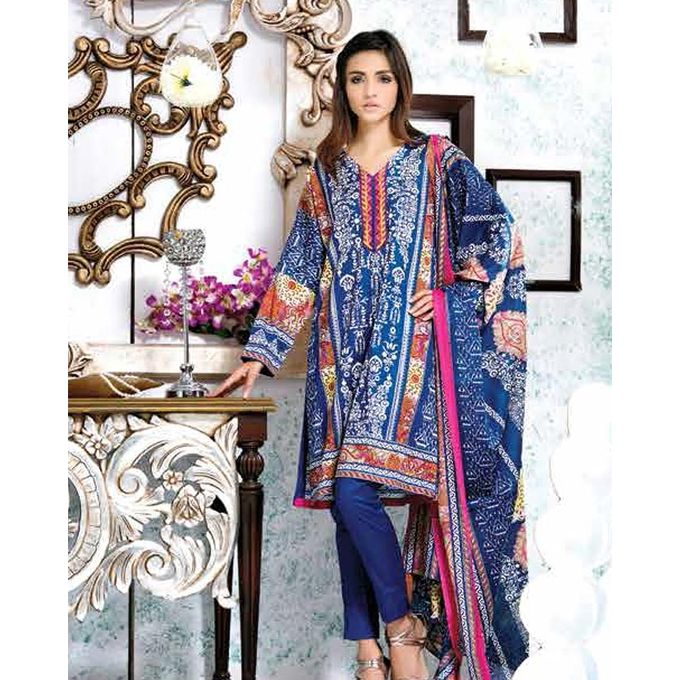 House of Ittehad Blue Printed Lawn Ladies Unstitched Shirt LF-CL-2740-17