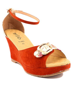 Stylo Shoes Rust Synthetic Leather Wedge for Women - L65442 - US Size