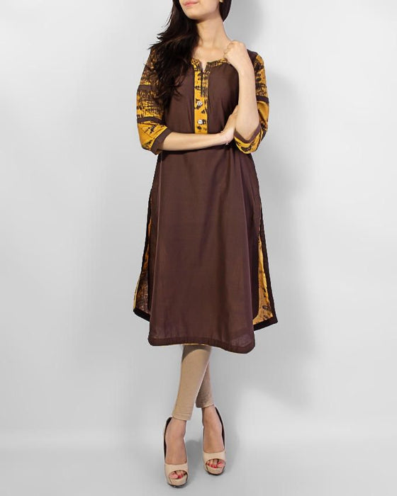 Style Inn Brown Tie & Die Kurta With Crystals Buttons