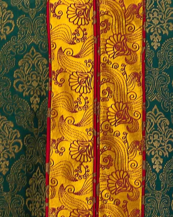 ESSEMM Collections Greenand Red Orchid Khadi Kurta