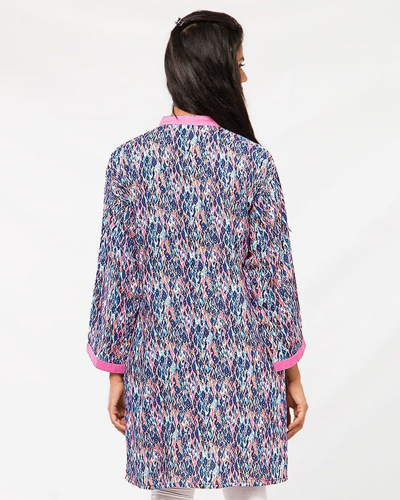 Misbah's Style Blue and Pink Malae Lawn Kurta For Women