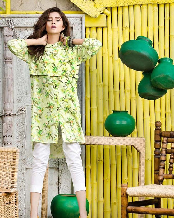 Gul Ahmed Green Viscose Single Winter Collection Vol. 2 -SDV-10 B Un-Stitched Ladies Fabric