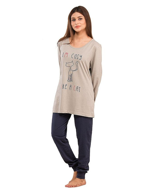 Style and Comfort Dark Blue & Grey Cotton Nightwear for Women - LD-6188