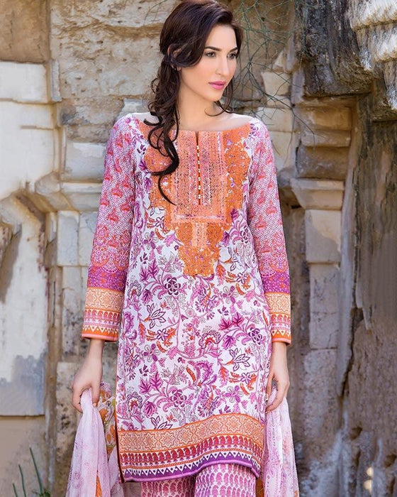 Gul Ahmed Pink Spring/Summer 2017 Collection Embroidered La Chiffon-C # 448