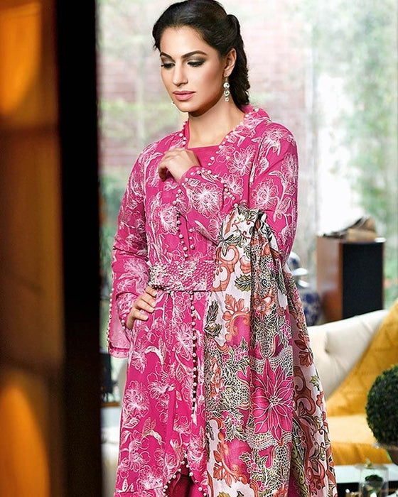 Gul Ahmed Hot Pink Spring/Summer 2017 Collection Embroidered Trencia-SS # 124