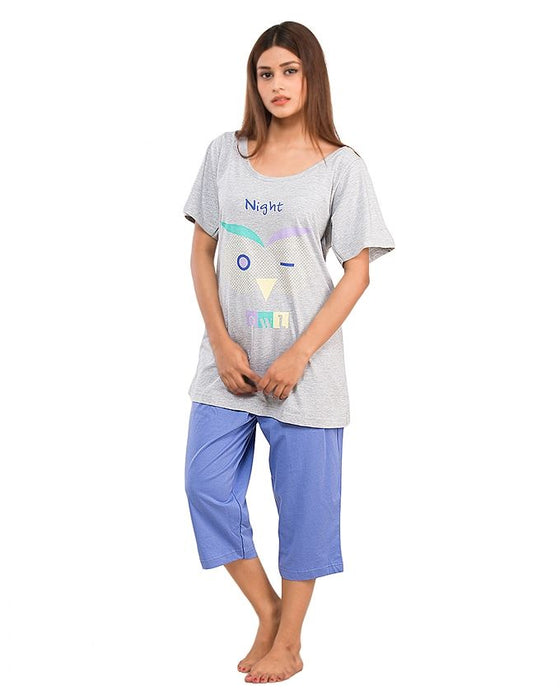 Style and Comfort Grey & Light Purple Cotton Nightwear for Women - LD-6185