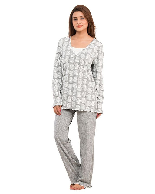Style and Comfort Grey Cotton Nightwear for Women - LD-6184