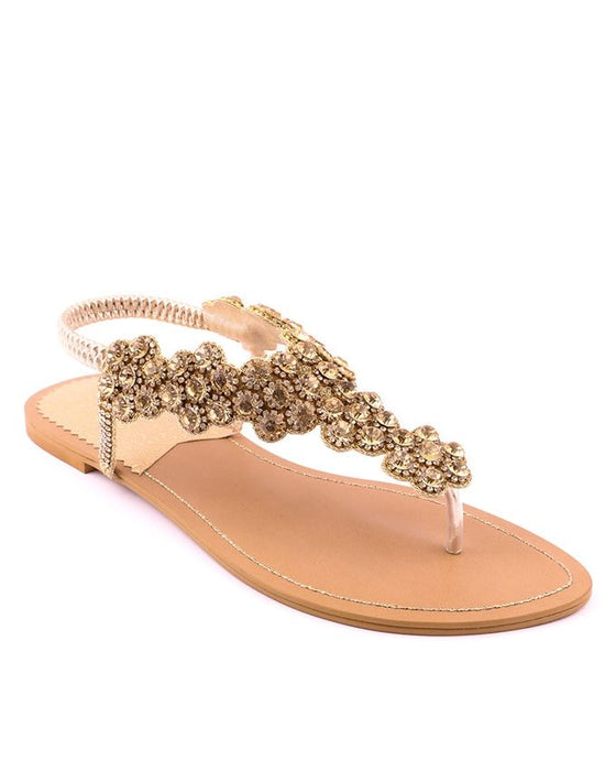 Stylo Shoes Golden Synthetic Leather Diamond V-Strap - L65611 - US Size