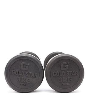 Let's Shop Pack of 2 - Rubber Coated Metal Dumbbells - 3KG - Silver & Black